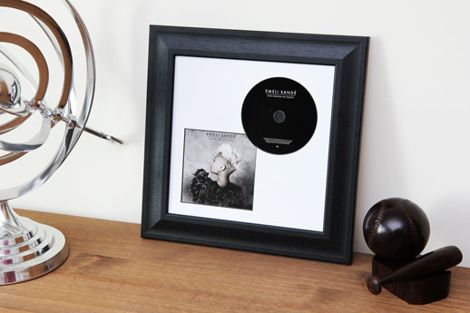 CD Book & Disc Black Frame White Mount